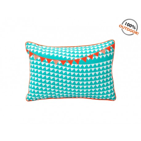 Coussin Outdoor Calicot Turquoise